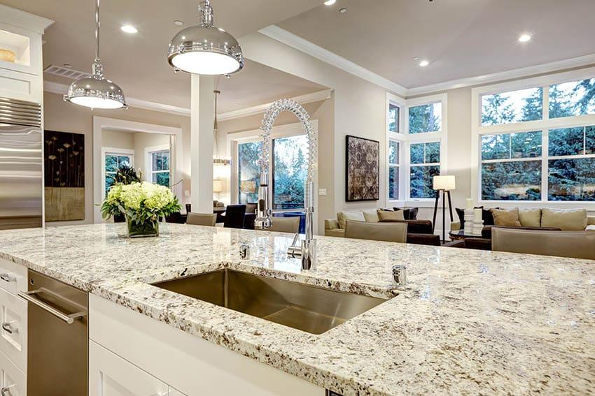 Light color granite kitchen countertops