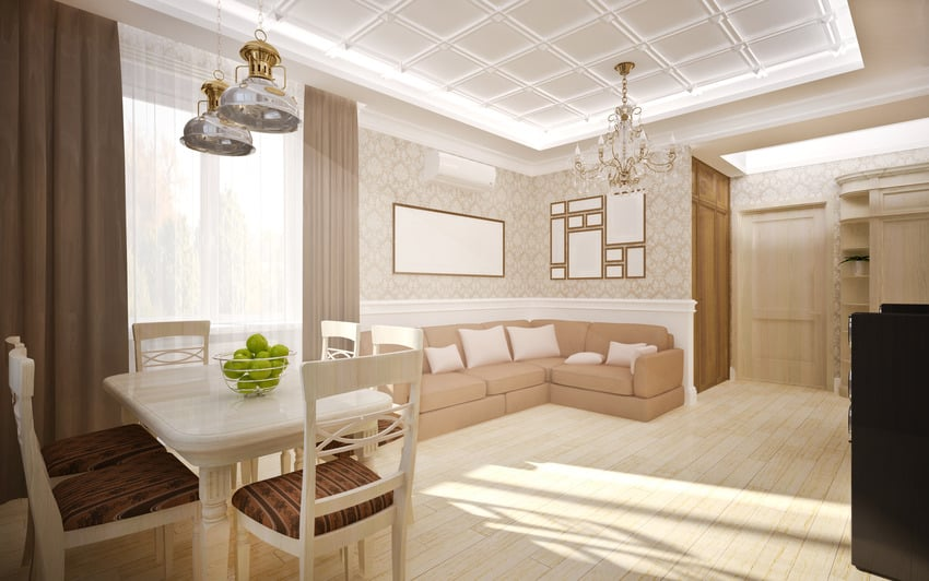 Living room with coffered ceiling tiles