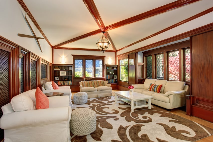 Living room built in simple coffered ceiling