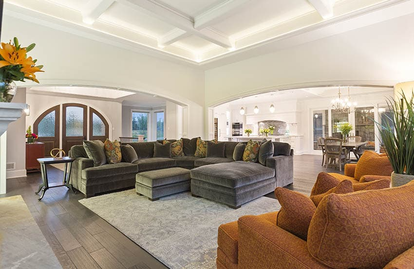 Living room with white coffered ceiling with hidden lighting