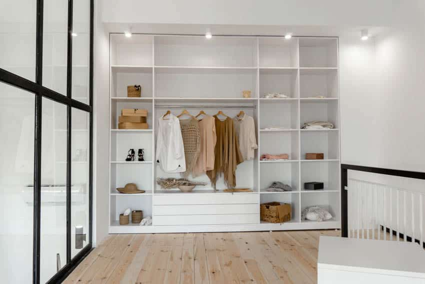 Loft transformed to closet space wood floor