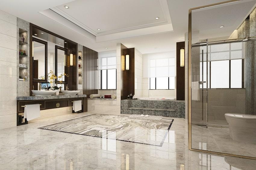 Luxury bathroom with eggshell finish paint ceiling