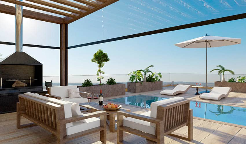 Luxury plunge pool with pergola outdoor fireplace ocean views