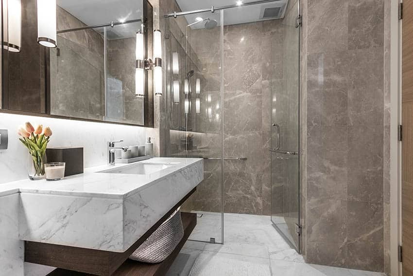 Marble tile shower floors