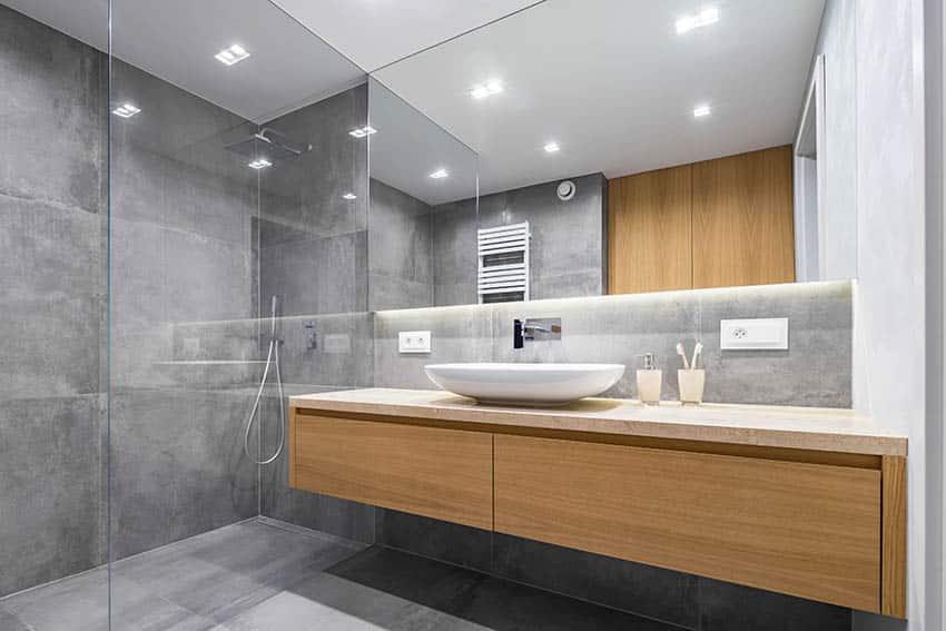 Modern bathroom concrete shower floors