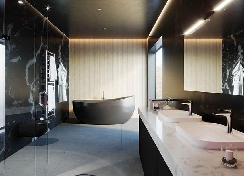 Modern bathroom with walk in shower concrete floors and custom epoxy tub