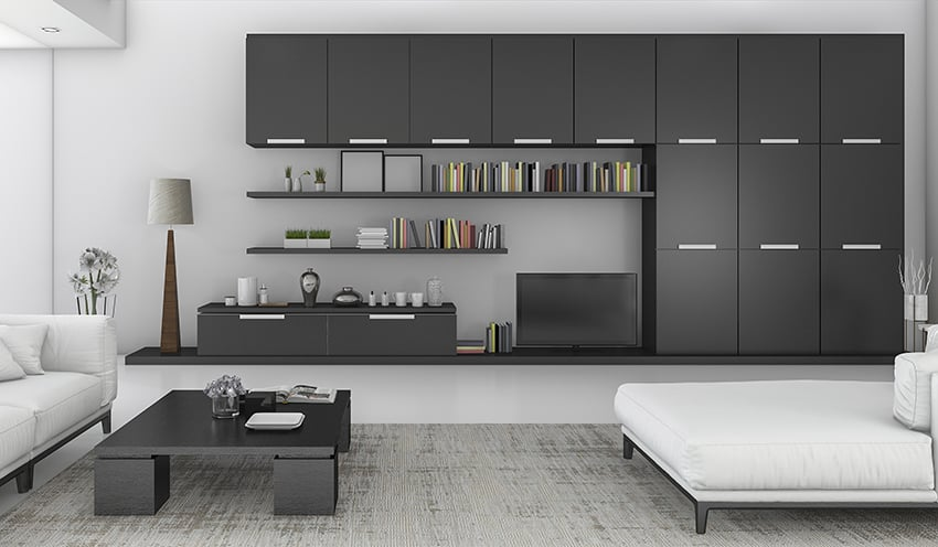 Modern black cabinet with neutral gray wall