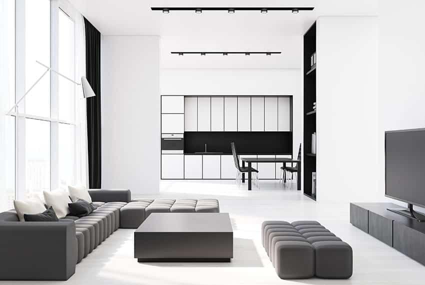Modern black furniture in white background