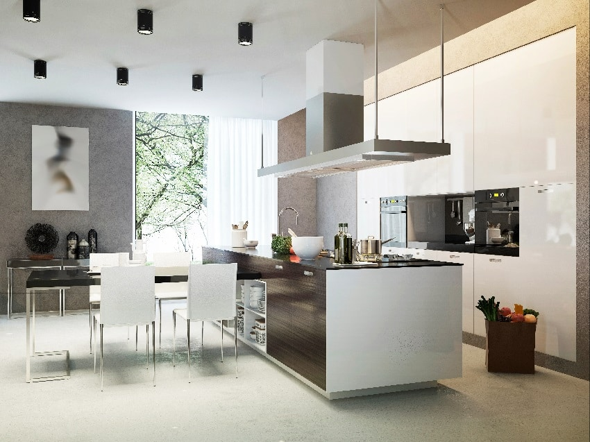 modern contemporary kitchen style with island sink dining set and white cabinets