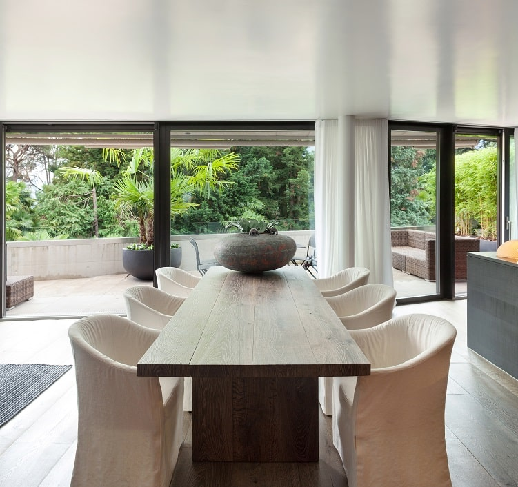 modern dining room with floor hardwood table and chairs and semi gloss ceiling paint finish