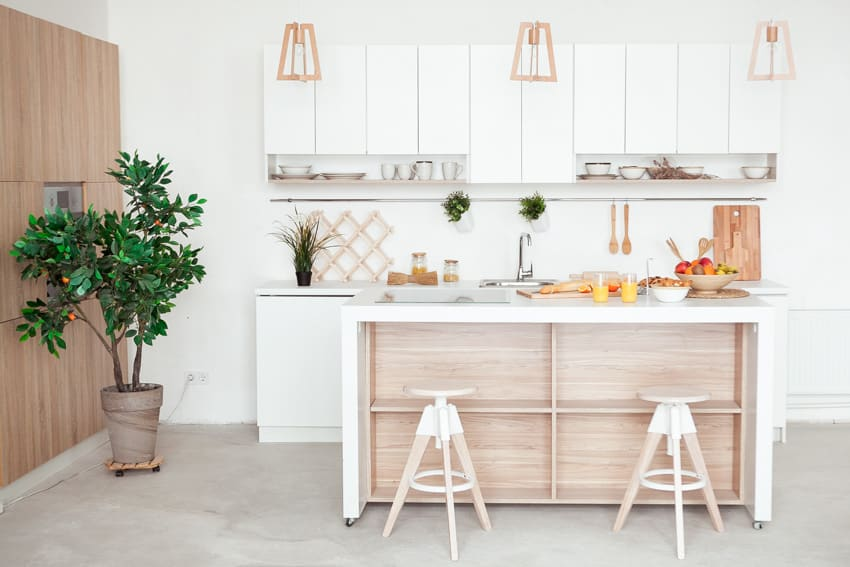 Modern kitchen with open shelves island and stools