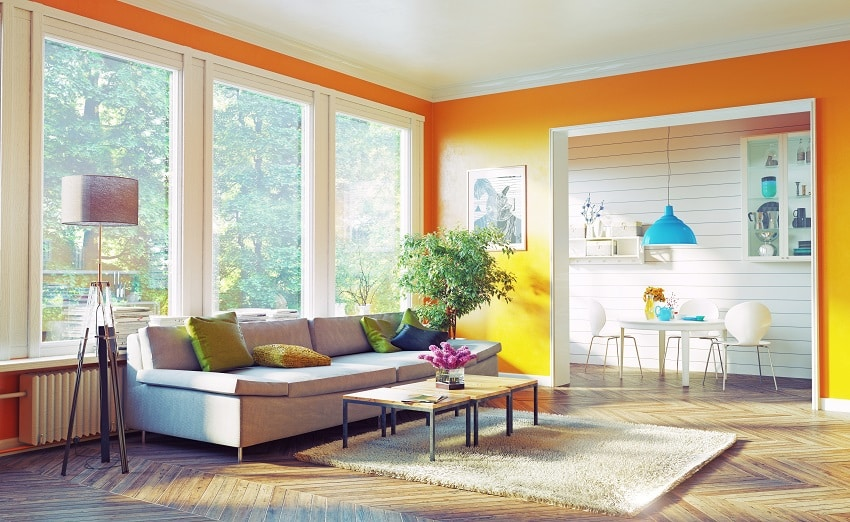 modern living room interior with yellow orange wall paint floor lamp and green plant beside the sofa is