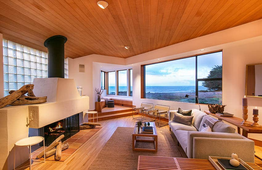 Modern living room with douglas fir flooring plank ceilings