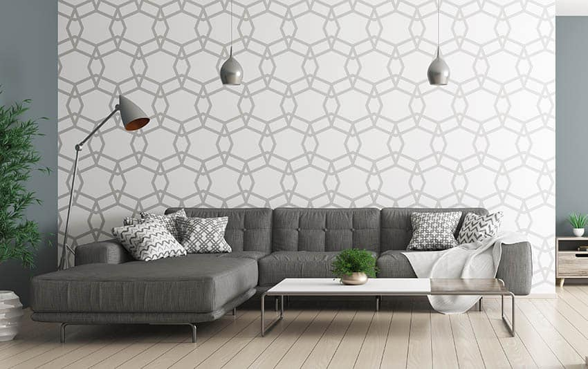 Modern living room with geometric design wall paper