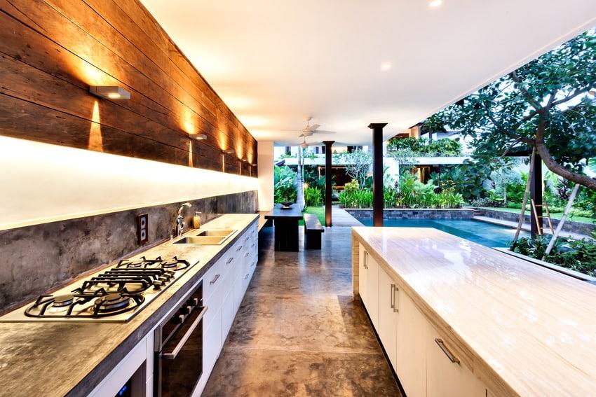 Modern outdoor kitchen area