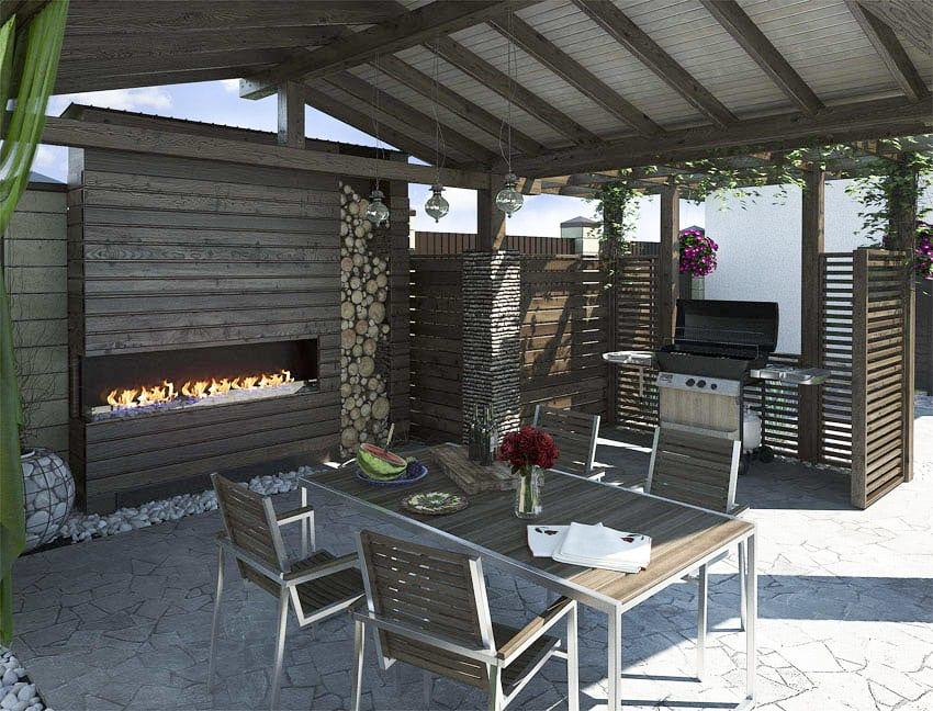 Modern pavilion with outdoor kitchen grill and fireplace