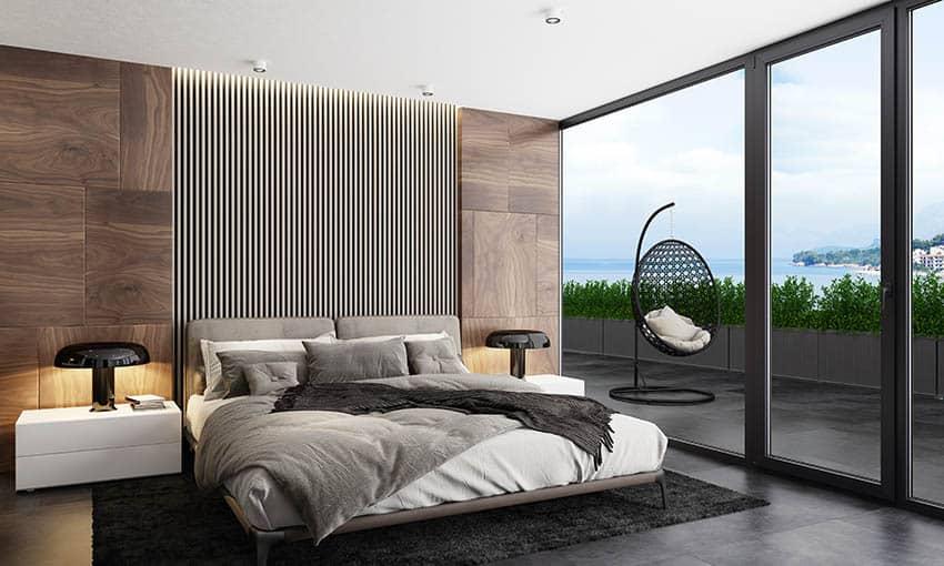 Modern platform bed wood veneer accent wall vertical pattern