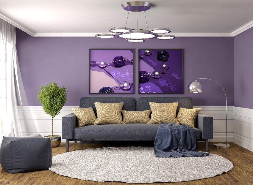 monochromatic purple colors interior