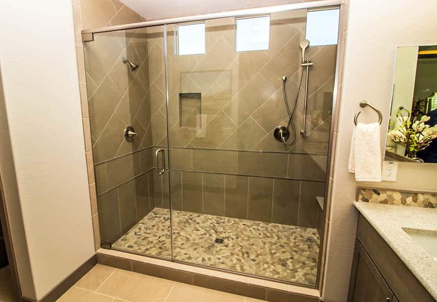 Mosaic floor tile in shower