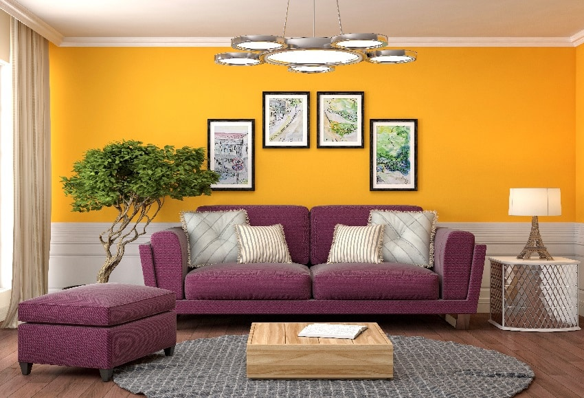 orange and white wall with purple sofa and wooden floor