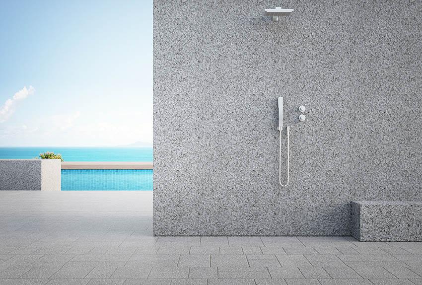 Outdoor shower with tile floor