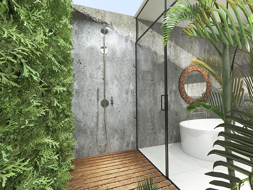 Outdoor shower with wood floor
