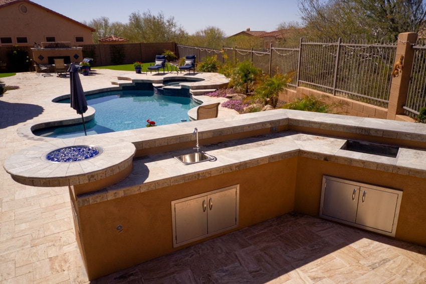 Outdoor sink by the swimming pool