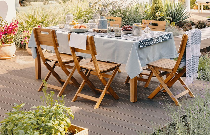 Outdoor wood dining table chairs