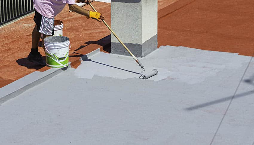 Painting concrete patio with gray