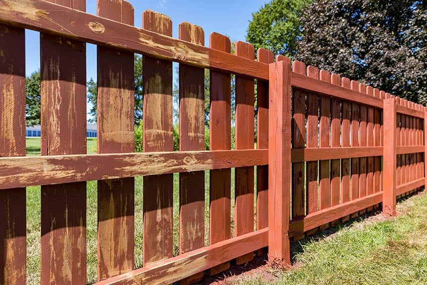 Painting old fence in yard