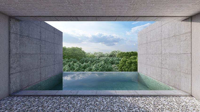 Pea gravel pool deck with modern infinity pool