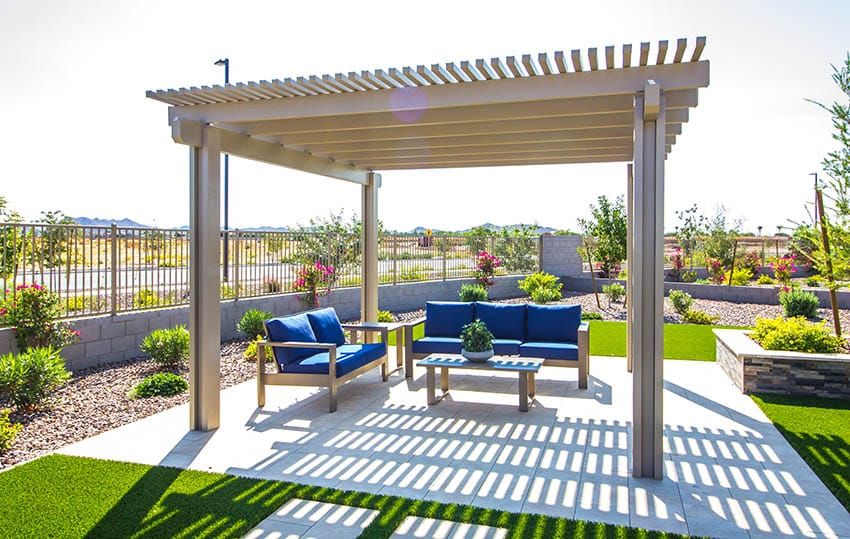Pergola on patio with outdoor furniture