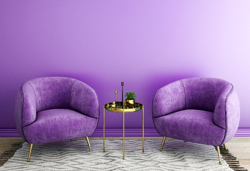 purple interior design for living area with grey carpet armchair and plant on table