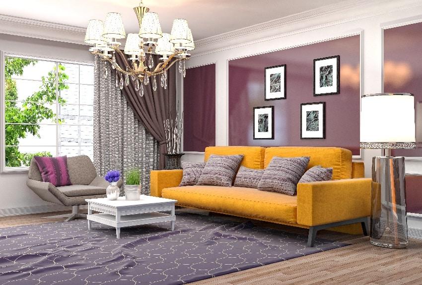 purple room interior with mustard sofa