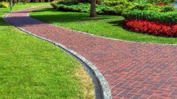 red brick paver pathway