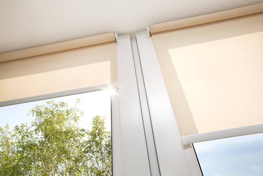 Rolled up roller shades