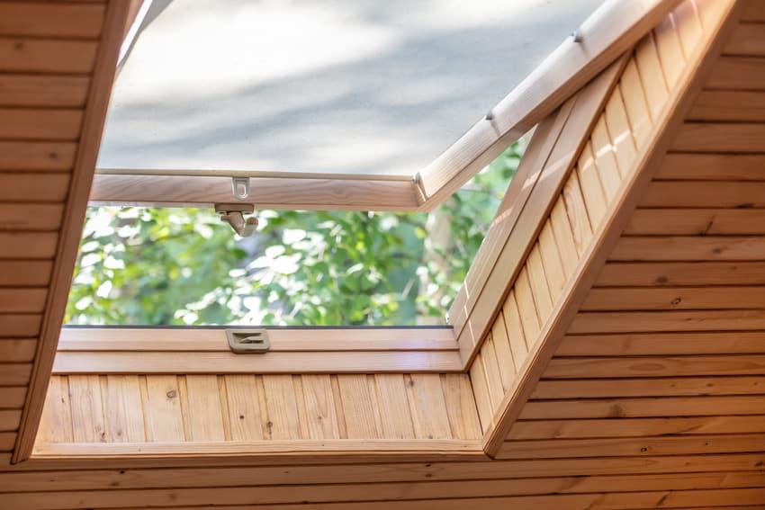 Opened skylight window shade
