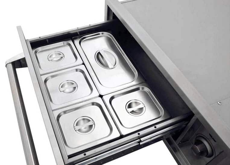 Stainless steel warming drawer with storage containers