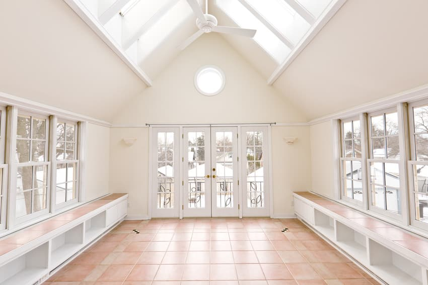 Residential home with sunroom tile floor