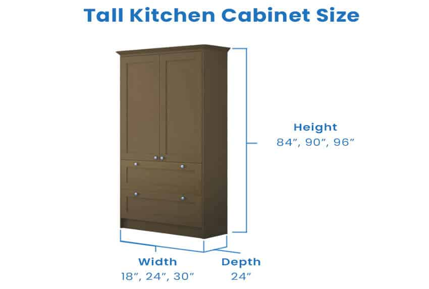 Tall kitchen cabinet with dimension size