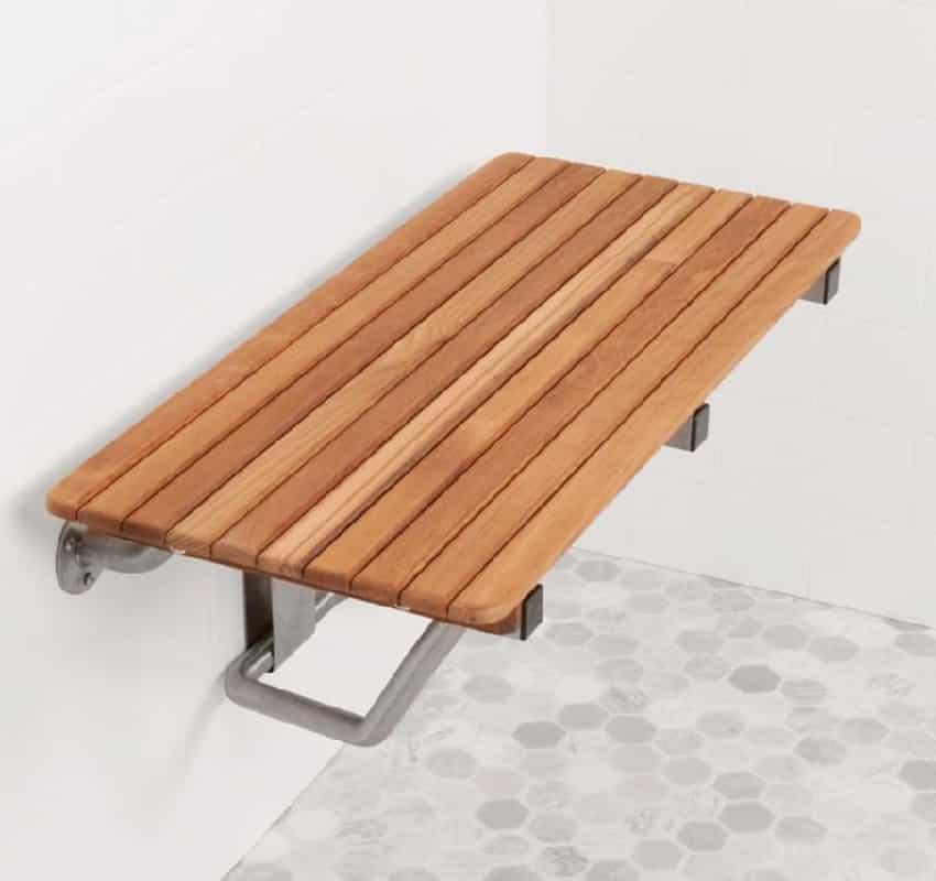 teak floating shower bench