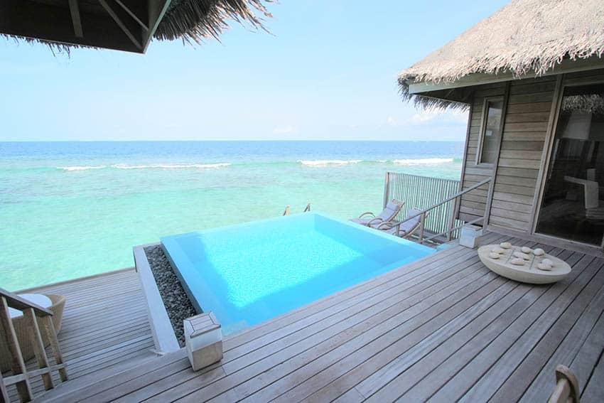Tropical infinity edge plunge pool with ocean views