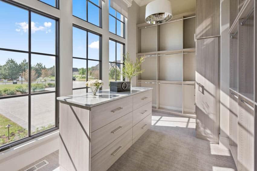 Walk-in closet with window views flooring