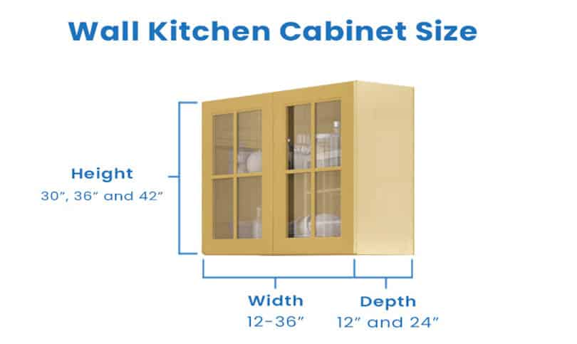 Wall kitchen cabinet with dimension size