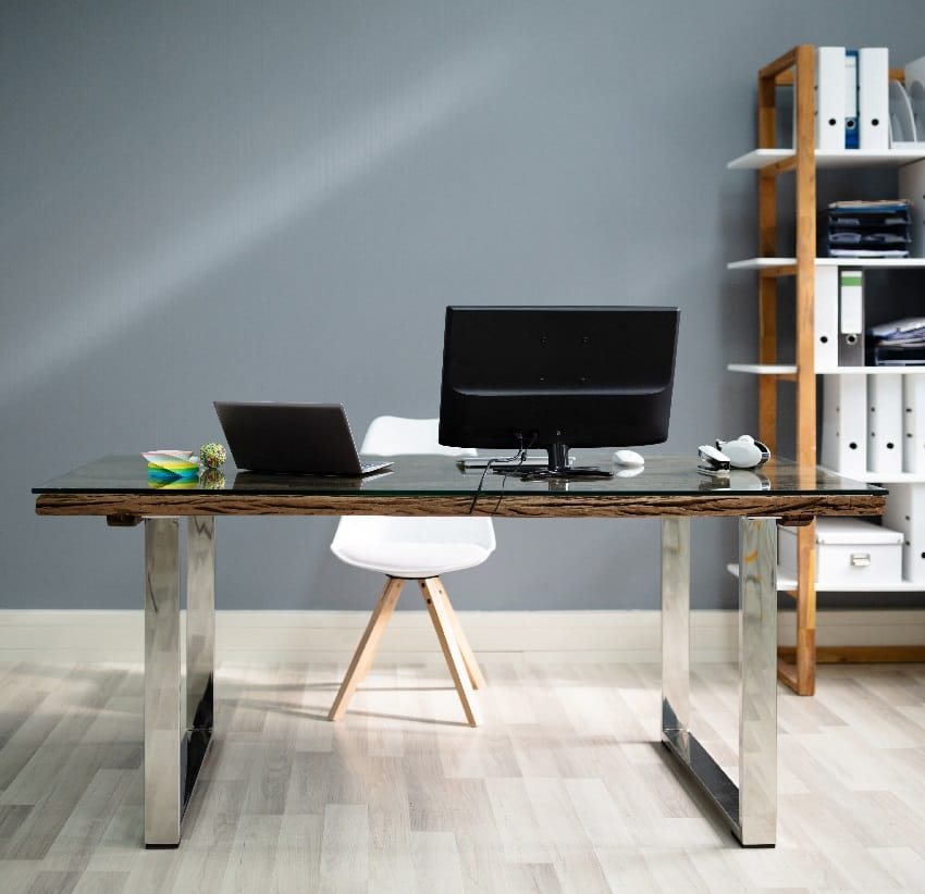 white scandinavian chair office table and computer on desk in modern office