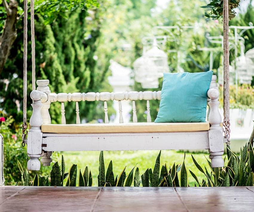 Whitewash outdoor furniture swinging bench
