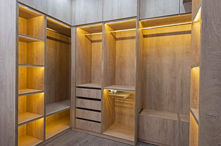 Wooden closet with lighting