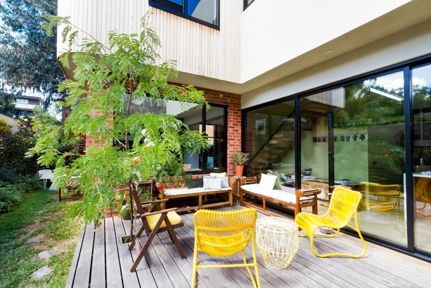 Yellow powder coated chairs patio