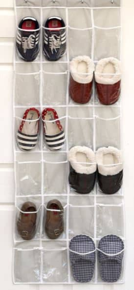 24 pockets simple houseware crystal clear over the door hanging shoe organizer