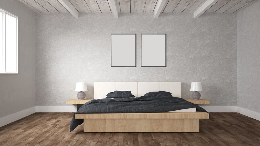 3d illustration of floating bed frame in muted interior bedroom with wood flooring